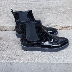 BLACK GEOX LEATHER ANKLE CHELSEA BOOT